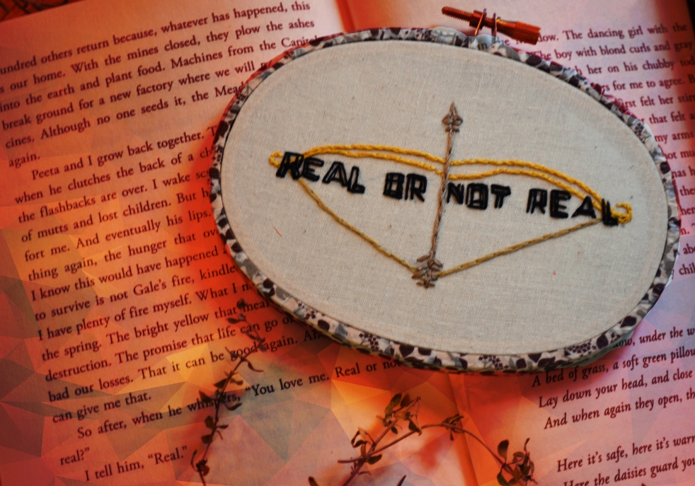 Hand Embroidered Real or Not Real? Mockingjay Oval Hoop
